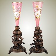 Antique HC Black Forest Animalier Mantel Epergne Pr (2), Enamel Opaline Vases