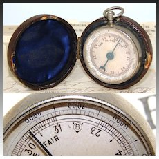Antique English Victorian Era Pocket Barometer, Silvered Dial, Original Fitted Case