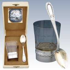 Antique French Sterling Silver & Cut Glass Aperitif Cup & Spoon Set, Original Box
