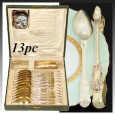 Antique French 18K Gold Vermeil on Sterling Silver 13pc Tea Service, Teaspoons & Sugar Tong
