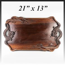 "Antique to Vintage early 1900s Hand Carved Teak Dragon Serving Tray, 21"" x 13"""