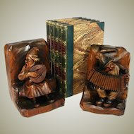 Charming Vintage Black Forest Anri Style Carved Wood Bookends, Musical Figures
