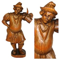 "Vintage Black Forest Anri Style Carved Wood Figure, 8.5"" Tall Gent with Beer Stein"