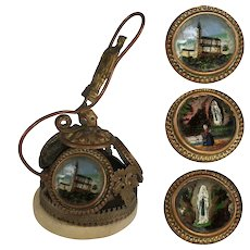 Antique French Souvenir Hotel or Servant Bell, 3 Eglomise Paintings, Miracle of Lourdes