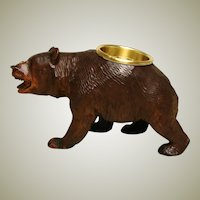 "Charming Antique Black Forest 6"" Bear Figure, Open Salt or Inkwell Stand"