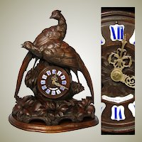 "Antique Black Forest Carved 20"" Mantel Clock, HUGE ""Fruits of the Hunt"" Style Game Birds"
