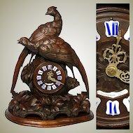 "Antique Black Forest Carved 20"" Mantel Clock, HUGE ""Fruits of the Hunt"" Style Game Birds"