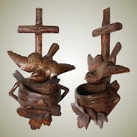 Charming Antique Black Forest Carved Holy Water Font or Benitier, Cross & Bird with Nest