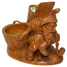 Delightful Antique Black Forest Carved Smoker's Match Stand, Figural Gnome with Pipe