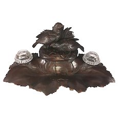 "Antique HC Black Forest Double Inkwell, Desk Stand, Box, 13.5"" with 2 Birds - Animalier Movement"
