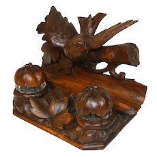 Antique Black Forest Carved Figural Double Inkwell Stand, Desk Caddy, Large Bird, Foliage c.1880
