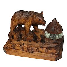 Antique Black Forest Carved Wood Inkwell, Bear Figure with Log Pen Holder, Inkstand