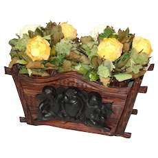 "Antique Black Forest 14.5"" Jardiniere or Plant Box, Figural Gutta Percha Cupid, Cherub or Putti Figures"