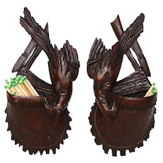 PAIR: Antique Black Forest Hunt Themed Match or Toothpick Holders, Game Birds, Hunting Satchels