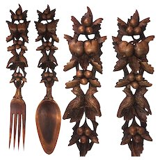 "Antique HC Black Forest Salad Serving Set, 2pc Fork, Spoon - Birds, Fruit, 11.75"" Long"