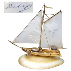 "Antique French Mother of Pearl Sail Boat, Ship, ""Dunkerque"" Souvenir Inkwell w/ Compass"