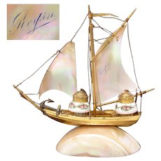 "Antique French Mother of Pearl Sail Boat, Ship, ""Royan"", France Souvenir Double Inkwell, Pocket Watch Stand"