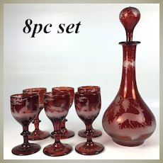 Antique Bohemian Ruby Flash and Engraved Liqueur Service, Decanter, 6 Cordial Stems, Stag, Dog, Rabbit