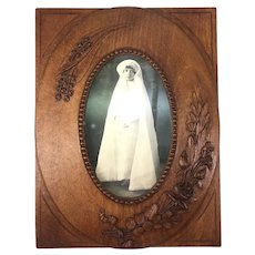 """Antique Hand Carved Wood 10.5"""" Tall Frame, Black Forest or French, Floral"""