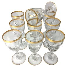 "Antique French DAUM Nancy (Unsigned) 5"" Wine Stemware (10) Glasses, Gold Rims"