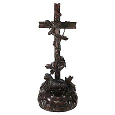"Antique HC Black Forest 11.75"" Tall Crucifix, Holy Font with Lamb"