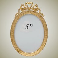 "Antique French Napoleon III 5"" Gilt Bronze Picture Frame, Oval with Bow & Ribbon Top"