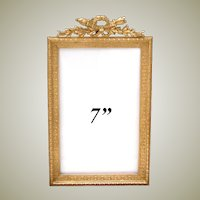 "Antique French Napoleon III 7"" Gilt Bronze Picture Frame, Empire Style Torch & Quiver Top"