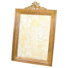 "LG Antique Louis XVI Style Gilt Bronze 10.75"" Picture Frame, Ribbon & Garland Finial"