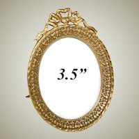 "Antique French Napoleon III 3.5"" Gilt Bronze Picture Frame, Oval with Bow & Ribbon Top"