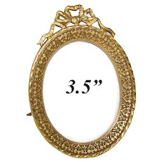"""Antique French Napoleon III 3.5"""" Gilt Bronze Picture Frame, Oval with Bow & Ribbon Top"""