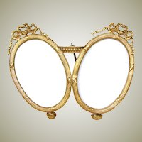 "Antique French Napoleon III 4 3/8"" Gilt Ormolu Double Picture Frame, Ovals, Bow & Ribbon Tops"