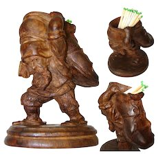 Charming Antique Black Forest Carved Match or Toothpick Holder, Gnome or Cobbler with Shoe