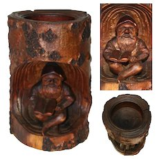 Antique Black Forest Carved Match or Toothpick Holder, Gnome Reading a Book