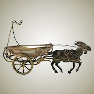 "Antique French Mother of Pearl Goat Cart Pocket Watch Stand, Palais Royal, 4.75"" Long"