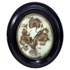 "Antique Napoleon III Era Blond Hair Art Memento, Mourning Icon in 9.75"" Frame, Bombe Glass"