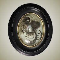 """Antique French Hair Art Memento, Mourning Icon w Tomb, in 8"""" x 6.5"""" Oval Wood Frame, Napoleon III"""
