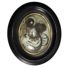 "Antique French Hair Art Memento, Mourning Icon w Tomb, in 8"" x 6.5"" Oval Wood Frame, Napoleon III"