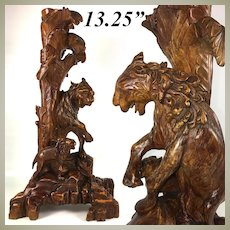 "Antique Asian Hand Carved Wood Lions, Made for Lamp Base - 13.25"" Tall, Chinoiserie, Japonaise"