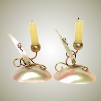 Antique French Napoleon III Mother of Pearl Miniature Doll Sized Candle Holder Pair