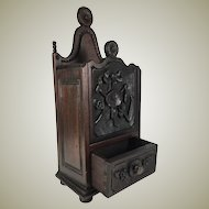 "Antique 19th c. French Salt Box, Cabinet, 14"" Tall, Hand Carved Country French w Dovetailed Drawer"