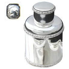 Elegant Antique French Sterling Silver Tea Jar, Classical Laurel Garland Bands