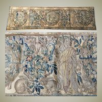 """RARE c.1600s Woven Flemish Tapestry 70"""" Long, 19"""" Wide, Figures, Putti, Rabbits, Fruit"""
