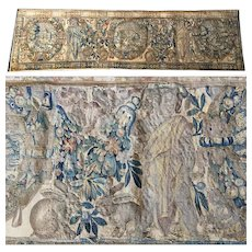 "RARE c.1600s Woven Flemish Tapestry 70"" Long, 19"" Wide, Figures, Putti, Rabbits, Fruit"