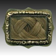 Antique French Hair Art Mourning Brooch, 18k Gold Setting