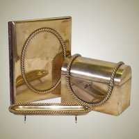 RARE 4pc Antique French Gilt Bronze Desk Set: Inkwell with Agate, Stationery Casket, Folio & Pen Tray!
