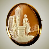 "Antique to Vintage HC Cameo, Rebekah at the Well, Castle, Large 2"" x 1 3/8"" Oval Brooch"