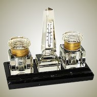 Antique Cut Crystal Double Inkwell & Thermometer Obelisk Set