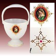 BIG Antique Bohemian Portrait Vase, Garnets & Opaline - Moser Art Glass