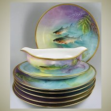 Set of 6 Antique HP Ballery LIMOGES Fish Plates with Matching Sauce Boat