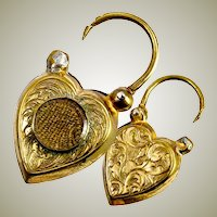 Antique Victorian Mourning Heart Padlock Jewelry Clasp, Charm, Hair Art Locket in 15k Gold
